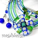 Kék-zöld virágos üvegékszer szett, nyaklánc, pötty fülbevaló, Ékszer, Ruha, divat, cipő, Fülbevaló, Medál, Ékszerkészítés, Üvegművészet, Óriási választék virágos szettekből boltomban!!  Áttetsző muránói üveg, kék, zöld millefiori virág ..., Meska