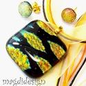 Aranyló levelek üvegékszer szett, nyaklánc, fülbevaló, Ékszer, Ruha, divat, cipő, Medál, Fülbevaló, Ékszerkészítés, Üvegművészet, Óriási választék dichroic ékszerekből boltomban!!!  Arany levél mintás dichroic üveg és fekete éksz..., Meska