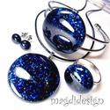 Kék aventurin csillogás üvegékszer szett, nyaklánc, karkötő, gyűrű, pötty fülbevaló, Ékszer, Gyűrű, Karkötő, Medál, Csillogó, kék aventurin üveg felhasználásával készült a medál, a karkötő, a gyűrű és a..., Meska