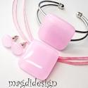 Pasztell rózsaszín üvegékszer szett, nyaklánc, karkötő, fülbevaló, Ékszer, Medál, Karkötő, Fülbevaló, Ékszerkészítés, Üvegművészet, Egyszerűen elegáns, nyaklánc, karkötő, fülbevaló szett. Pasztell, rózsaszín  ékszerüveg felhasználá..., Meska