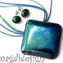 Éteri eozin kék-zöld fényben üvegékszer szett, nyaklánc, fülbevaló, Ékszer, Ékszerszett, Fülbevaló, Medál, Ékszerkészítés, Üvegművészet, Kék-zöld csillogó üveg felhasználásával készült ez nagyon nőies, elegáns medál és fülbevaló, olvasz..., Meska