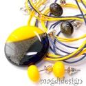 Nap sárga csillogó barna, kék SZÍNTRIÓ üvegékszer szett, nyaklánc, 2 pár pötty fülbevaló, Ékszer, Medál, Fülbevaló, Ékszerkészítés, Üvegművészet, Csillogó barna, nap sárga és áttetsző sötétkék minőségi, ékszerüvegből készült a medál, és a 2 pár ..., Meska
