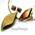 Aranyló zöld levél üvegékszer szett, nyaklánc, gyűrű, fülbevaló, Ékszer, Gyűrű, Fülbevaló, Medál, Elegáns, levél formájú medál, gyűrű és hozzá illő fülbevaló.  Áttetsző zöld mintás és csillogó, aran..., Meska
