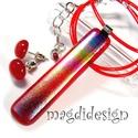 Szivárványos rubin maxi üvegékszer szett, nyaklánc, pötty fülbevaló, Ékszer, Ruha, divat, cipő, Medál, Fülbevaló, Csillogó szivárványos dichroic és áttetsző rubinvörös ékszerüveg felhasználásával kész..., Meska