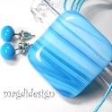 Hullámzó, csillogó kék tenger üvegékszer szett, nyaklánc, fülbevaló, Ékszer, Medál, Fülbevaló, Ékszerszett, Ékszerkészítés, Üvegművészet, Kék, hullámzó mintás, csillogó ékszerüveg felhasználásával készült a medál és a fülbevaló, olvasztá..., Meska