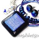 Fekete-kék-lila Fúzió üvegékszer szett, nyaklánc, stiftes fülbevaló, Ékszer, Medál, Fülbevaló, Ékszerszett, Ékszerkészítés, Üvegművészet, Csillogó kék-lila csíkos dichroic üveg és fekete ékszerüveg felhasználásával készült a medál és a s..., Meska