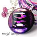 Görögös fényjáték üvegékszer szett, nyaklánc, pötty fülbevaló, Ékszer, Medál, Fülbevaló, Ballagás, Ékszerkészítés, Üvegművészet, Csillogó arany-pink,  fekete-pink-lila-arany mintás, különleges dichroic ékszerüveg felhasználásáva..., Meska