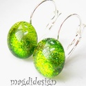 Zöld csillámporos üvegékszer kapcsos fülbevaló , Ékszer, Fülbevaló, Óriási színválaszték kapcsos és stiftes fülbevalókból boltomban!!!  Zöld csillogó ékszerüveg felhasz..., Meska