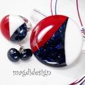 Tengerész maxi SZÍNTRIÓ üvegékszer szett, nyaklánc, gyűrű, pötty fülbevaló , Ékszer, Fülbevaló, Medál, Gyűrű, Fehér, csillogó kék és meggypiros minőségi, ékszerüvegből készült a medál, a gyűrű és a stiftes fülb..., Meska
