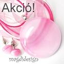 AKCIÓ!! Pasztell rózsaszín-pink üvegékszer szett nyaklánc, pötty fülbevaló, Ékszer, Medál, Fülbevaló, Pasztell, pinkes-rózsaszín, mintás, minőségi ékszerüveg került felhasználásra ennél a mutatós, elegá..., Meska