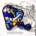 Szivárványos szív 1 üvegékszer szett, medál, pötty fülbevaló, Ékszer, Medál, Fülbevaló, Ékszerszett,  Csillogó arany, kék, zöld, türkiz, rózsaszín dichroic ékszerüveg felhasználásával készült a medál é..., Meska
