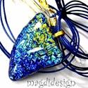 Aranyporos kékség üvegékszer nyaklánc, Ékszer, Medál, Óriási választék dichroic ékszerekből boltomban!!! Kék-arany mintás dichroic ékszerüveg felhasználás..., Meska
