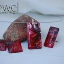 Vörös és fekete szett, Ékszer, Ékszerszett, Ékszerkészítés, Egy igazán vonzó és nőies, egyedi tervezésű, kézzel festett üveg ékszer szett, mely láncból, gyűrűb..., Meska