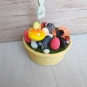 Nyuszis asztaldísz , Húsvéti díszek, Otthon, lakberendezés, Dekoráció, Asztaldísz, Virágkötés, Vidám, nyuszis asztaldísz, tojásokkal és egy kis csillogással :)Sárga kaspóban.   Átmérője kb 18 cm..., Meska