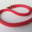 Gyöngyhorgolt nyaklánc , Ékszer, Nyaklánc, Gyöngyhorgolással készült nyakláncom különleges piros színével igazán feltűnő darab. Jap..., Meska