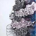 Virágok között, Dekoráció, Képzőművészet, Festmény, Kép, Festészet, Méret: 30x40 Akril festékkel, vizes technikával készült kép, feszített vászonra. Keret nélküli kép...., Meska