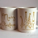 Karácsonyi bögre szett-arany mintás, Konyhafelszerelés, Bögre, csésze, Festett tárgyak, Ideális választás ajándékba barátoknak, családunknak! A szett 4 db kézzel festett, arany fenyőmintá..., Meska