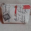 Sminktartó neszesszer (kozmetikai táska) - Anyáknapjára, Táska, Neszesszer, Vízlepergető anyagból készült cipzáros sminktartó neszesszer piros-fehér pöttyös pamutvás..., Meska