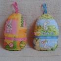 2 db tojás dekoráció - nem csak Húsvétra, Baba-mama-gyerek, Dekoráció, Ünnepi dekoráció, Húsvéti díszek, Párban vihető a két tojás.  Pamutvászonból készült, vatelingolyócskákkal tömtem meg. Díszítésnek róz..., Meska
