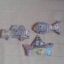 Autó, hajó és halacsa csörgő (3 db) kisbabáknak, Baba-mama-gyerek, Baba-mama kellék, Játékfigura-mintás pamutvászonból készítettem a kisbaba játékokat, a formája miatt inkább kisfiúknak..., Meska