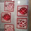 Egyedi poháralátét, karácsonyi, Pamutvászonból készül, mérete: 10-11 cm. Megr...