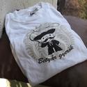 Betyár gyerök - fehér gyerek póló, Magyar motívumokkal, Ruha, divat, cipő, Gyerekruha, Gyerek (4-10 év), Fotó, grafika, rajz, illusztráció, Fehér pamut pólóra transzfer technikával készített saját grafika betyár figurával és népi motívumma..., Meska