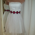 Tündér, Esküvő, Ruha, divat, cipő, Menyasszonyi ruha, Esküvői ruha, Varrás, Tüllszoknyával, csipke felsővel készítettem ezt a kis tündérruhát.Látványos pink ékszeröv emeli ki ..., Meska