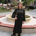 Fekete Tulipán, Esküvő, Magyar motívumokkal, Ruha, divat, cipő, Női ruha, Bővülő aljú hosszú szatén ruha, különleges szabású muszlin ujjakkal. Stilizált  tulipán ..., Meska