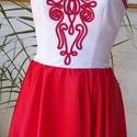 Piros- fehér menyecske, Esküvő, Ruha, divat, cipő, Magyar motívumokkal, Női ruha, Varrás, Düseszből és szaténból alkottam ezt a különleges  körszoknyás ruhát.Puplin alsószoknyáját maderia c..., Meska
