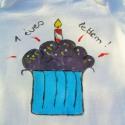 Muffin/Torta mintás fehér pamutbody,kézzel festett,74, Baba-mama-gyerek, Ruha, divat, cipő, Gyerekruha, Baba (0-1év), Boltban vásárolt fehér színű,pamut, rövid ujjú baba bodyra festettem a kis tortát,fölé pedig a felir..., Meska