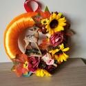 Őszi ajtódísz , Otthon & Lakás, Dekoráció, Ajtódísz & Kopogtató, Virágkötés, Vidám, őszi ajtódísz, kedves kis őzikével. , Meska