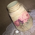 Vintage roses - váza, tartó, Dekoráció, Otthon, lakberendezés, Dísz, Kaspó, virágtartó, váza, korsó, cserép, Decoupage, transzfer és szalvétatechnika, Egy kávés üveg új élete :) Szépséges rózsamintával díszítettem, finomvonalas repesztéssel kölcsönöz..., Meska