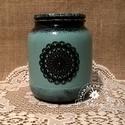 Fekete csipke - váza, tartó, Otthon, lakberendezés, Dekoráció, Kaspó, virágtartó, váza, korsó, cserép, Asztaldísz, Festett tárgyak, Egy régi befőttes üveg adta az alapot ehhez a vázához.   Magassága kb 15 cm.  Fényes lakkal vontam ..., Meska