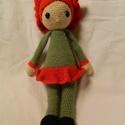 Pipacs, Játék, Baba, babaház, Játékfigura, Horgolás, Pipacs  Zabbez mintája alapján készítettem ezt a horgolt pipacs baba figurát. Sapkája és szoknyája ..., Meska