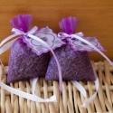 Levendula zsákocska, Levendula virág, lila organza zsákban, szatén s...