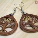 """3D rétegelt """"Venearrings"""" fülbevaló - Élet fája: Gyökerek, Ékszer, Fülbevaló, Ékszerkészítés, Famegmunkálás, Mahagóni és tölgy 0,6 mm-es furnérból 3*2 réteggel készült 3,6 cm átmérővel az élet fája szakrális ..., Meska"""