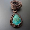 boho nyaklánc, Ékszer, Medál, Nyaklánc, Boho makramé nyaklánc azurit-malachit kővel.  A kő méretei: 4x 3cm Nyaklánc hossza: 43 cm, Meska