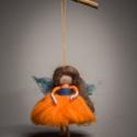 Ambrózia Erdei Tündér nemez, tűnemez figura, Baba-mama-gyerek, Otthon, lakberendezés, Gyerekszoba, Mobildísz, függődísz, Nemezelés, Varrás, 100 % merinói gyapjúból készült. Magassága ;10 cm + 10 cm az akasztó, Meska