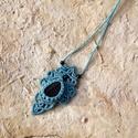 Türkizkék makramé nyaklánc selyemobszidiánnal, Ékszer, óra, Nyaklánc, Makramé technikával, azaz csomózással készült türkiz színű nyaklánc, ujjpercnyi,  szépséges, szabály..., Meska