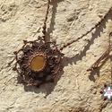Barna makramé mandala nyaklánc narancs kalcittal, Ékszer, óra, Nyaklánc, Makramé technikával, azaz csomózással készült barna nyaklánc, sárga, ovális, narancs-kalcit ásvánnya..., Meska