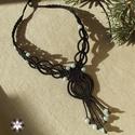 Elegáns amazonit csomózott makramé nyaklánc, Ékszer, óra, Nyaklánc, Makramé technikával, azaz csomózással készült elegáns, fekete színű nyaklánc, halványkék amazonit gy..., Meska