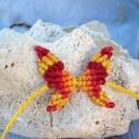 Makramé pillango, Ékszer, Karkötő, Makrame (csomozás) teknikaval kesszült pillango. Anyaga magas minöségü viaszolt makramé zsinó..., Meska