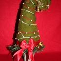 """Grincsfa 1., Dekoráció, Karácsonyi, adventi apróságok, Ünnepi dekoráció, Karácsonyi dekoráció, Nemezelés, Mindenmás, Tűnemezeléssel, nemezgyapjúból készített """"grincsfa"""".  Kerámia kaspóba építettem fel színezett gyapj..., Meska"""