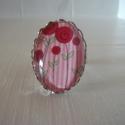 Pipacsos gyűrű, Ékszer, Esküvő, Gyűrű, Esküvői ékszer, Romantikus hangulatú, ezüstszínű, ovális, csipkés szélű gyűrűalapban pipacsvirágos kép. ..., Meska