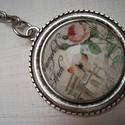 Kulcstartó - Francia tavasz, Mindenmás, Kulcstartó, Kulcstartó 25 mm átmérőjű ezüstszínű  kulcskarikával 30 mm lánccal, antik ezüstszínű, m..., Meska