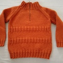 Kötött pulóver kisfiúnak, Ruha, divat, cipő, Gyerekruha, Kézzel kötött pulóver pamuttartalmú fonalból. Keresztben bordás mintával.  Szélessége: 32 ..., Meska