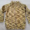 Kötött pulóver kisfiúnak (zöldes), Ruha, divat, cipő, Gyerekruha, Kézzel kötött pulóver pamuttartalmú fonalból. Zöldes-sárgás árnyalatban, színátmenetes f..., Meska