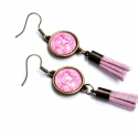 Pink tassel fülbevaló (malyvacukor) - Meska.hu