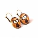 Brown owl fülbevaló , Barna, bagoly mintás fülbevaló, bronz francia k...