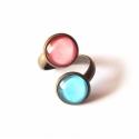 Spring double gyűrű, Lazac színű és türkiz kék, dupla üveg betét...